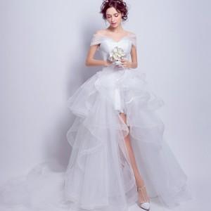 38da42fa1405a プリンセスライン トレーンドレス 白 ホワイト ウエディングドレス 花嫁 結婚式 二次会 披露宴アシンメトリー パーティドレス