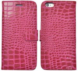 199ef1e01c iPhone6 Plus用 クロコダイルレザーデザインケース アイフォン6プラス用 手帳型 ビビッドピンク SoftBank