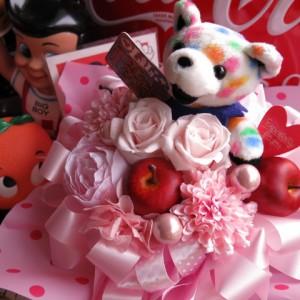 プリザーブドフラワー 結婚祝い プレゼント 花 フラワーギフト ビーンベアー入り ベアー柄・種類はおまかせ ケース付き