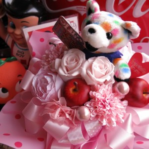 結婚祝い プレゼント 花 フラワーギフト プリザーブドフラワー ビーンベアー入り ベアー柄・種類はおまかせ ケース付き