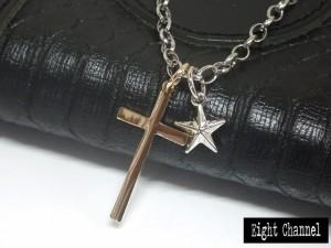 クロスと星のネックレス 十字架 スター メール便送料無料 男女OK ロック ゴスロリ バンギャ きれいめ V系 Rock M-3403-7