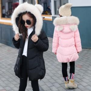 キッズ厚手コート 女の子 子供コート モッズコート アウター 中綿 ダウンジャケット ダウンコート キッズ フード付き 防寒 着痩せ