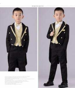 男の子 子供服 スーツ タキシードフォーマル ピアノ発表会 結婚式 5点セットジャケット+シャツ+ベスト+パンツ+蝶ネクタイ  110-160cm