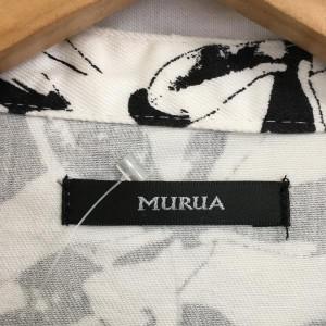 ムルーア ジャケット B0777 白 / ホワイト × 黒 / ブラック MURUA 花柄 綿 コットン、ポリウレタン