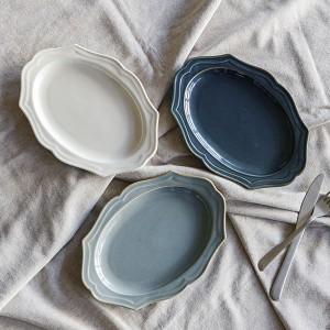 プレート 24cm 楕円皿 Vanves ヴァンヴ 皿 食器 洋食器 磁器 日本製 ( 食洗機対応 電子レンジ対応 中皿 メイン皿 オーバル リム皿 耐熱