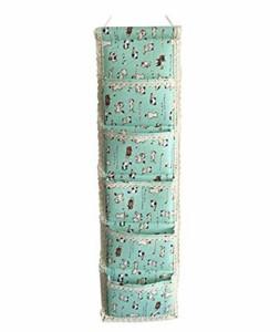 【訳あり】ウォールポケット ポップ系 猫 ネコ イラスト 縦長タイプ 5ポケット (ミントグリーン)