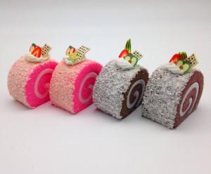 【訳あり】食品サンプル ロールケーキ カラフル マグネット付き 4個セット (A)