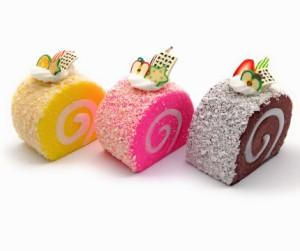 【訳あり】食品サンプル ロールケーキ カラフル マグネット付き 3個セット (A)