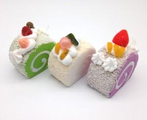 【訳あり】食品サンプル ロールケーキ カラフル マグネット付き 3個セット (B)