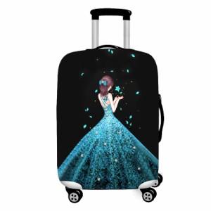 スーツケースカバー 後ろ姿の美しい女性 キラキラドレス (フラワー, Mサイズ)