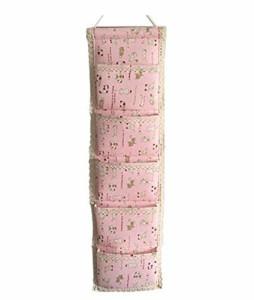 ウォールポケット ポップ系 猫 ネコ イラスト 縦長タイプ 5ポケット (ピンク)