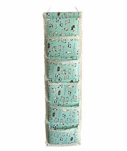 ウォールポケット ポップ系 猫 ネコ イラスト 縦長タイプ 5ポケット (ミントグリーン)