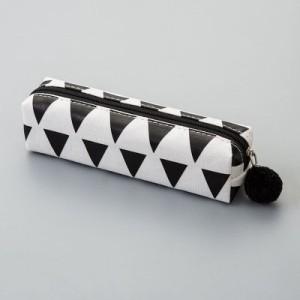 ペンケース シンプルデザイン 北欧風 ボンボン付き 筒型 (モノトーンA)