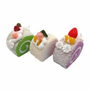 食品サンプル ロールケーキ カラフル マグネット付き 3個セット (B)