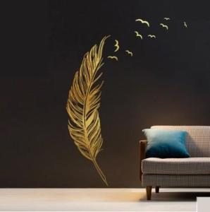 ウォールステッカー 大きな鳥の羽根 飛び立つ鳥のシルエット (ゴールド)