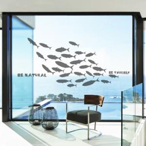 ウォールステッカー お魚のシルエット 魚群 マリン風 英語のメッセージ (グレー)