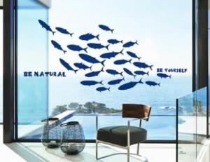 ウォールステッカー お魚のシルエット 魚群 マリン風 英語のメッセージ (ブルー)
