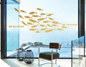 ウォールステッカー お魚のシルエット 魚群 マリン風 英語のメッセージ (ゴールド)