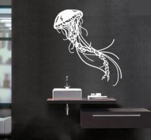 ウォールステッカー クラゲ スケッチ風 海洋生物 (ホワイト)