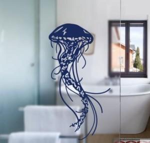 ウォールステッカー クラゲ スケッチ風 海洋生物 (ブルー)