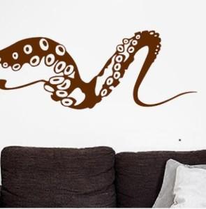 ウォールステッカー 大きなタコ足 シンプルカラー リアル 海洋生物 (Cタイプ×ブラウン)