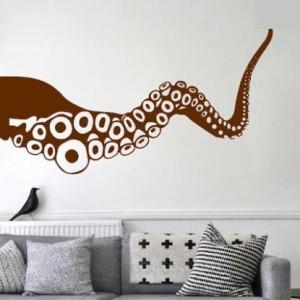 ウォールステッカー 大きなタコ足 シンプルカラー リアル 海洋生物 (Dタイプ×ブラウン)