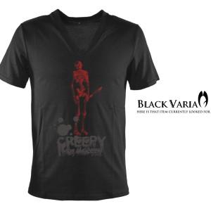 Tシャツ 半袖 スカルロゴプリントVネック(ブラック黒) ztm017/ロックパンクお兄系スカルロゴプリントVネック