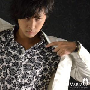 薔薇バラ花柄レギュラーカラー長袖シャツ(ホワイトブラック) 925981/MADEINJAPAN日本製結婚式ドレスシャツ