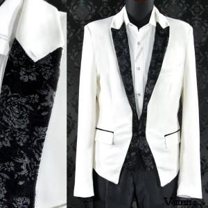e6d9974e6854b  Sale カットジャケット テーラードジャケット 花柄 レイヤード スペンサー 1ボタン(ホワイト白
