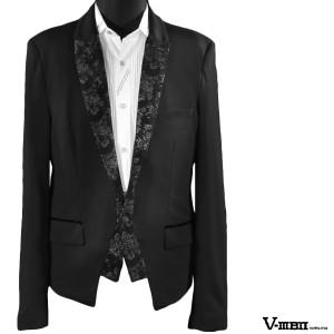 d5fd9f8f7250e  Sale カットジャケット テーラードジャケット 花柄 レイヤード スペンサー 1ボタン(ブラック黒