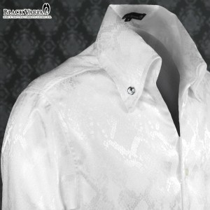 サテンシャツ スキッパー パイソン ヘビ 蛇 メンズ 日本製 ボタンダウン ジャガード スリム ドレスシャツ(ホワイト白) 161211