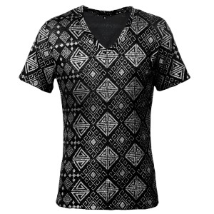 Tシャツ 半袖 Vネック ラメ 箔 ジオメトリック柄 ネイティブ柄(ブラック黒シルバー銀) 163212