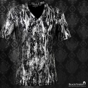 Tシャツ 半袖 Vネック ラメ ムラ 箔 光沢 タイト(ブラック黒シルバー銀) 163213