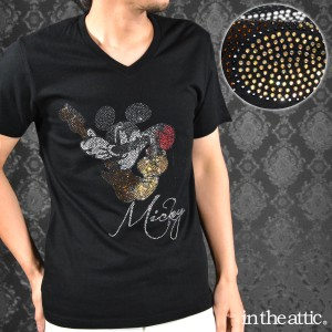 Tシャツ Vネック ミッキーマウス ギター ラインストーン キャラクター 半袖Tシャツ(ブラック黒) 1629016