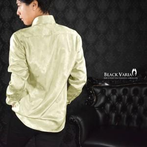 サテンシャツ ドレスシャツ 長袖 花柄 薔薇柄 ドゥエボットーニ レギュラーカラー ジャガード メンズ 日本製 光沢(ゴールド金) 161913