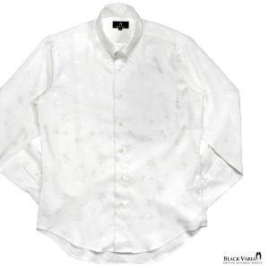 サテンシャツ ドレスシャツ 長袖 花柄 薔薇柄 ドゥエボットーニ レギュラーカラー ジャガード メンズ 日本製 光沢(ホワイト白) 161913