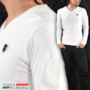 IOLA rumore ヴィオラルモア Tシャツ Vネック 合皮 切替 クロス 無地 長袖(ホワイト白) 71140