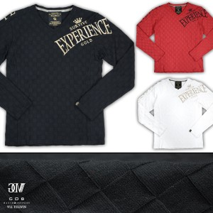 GD8 グラディエイト GLADIATE  Vネック 市松 ジャガード 金糸 刺繍 メンズ ブロックチェック 長袖Tシャツ(ブラック黒ゴールド金) 461537