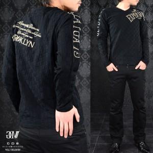 送料無料 GD8 グラディエイト GLADIATE  Vネック 市松 ジャガード メンズ ブロックチェック 長袖Tシャツ(ブラック黒ゴールド金) 461537