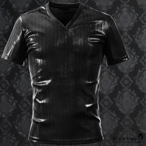 Tシャツ ラメ ストライプ Vネック 半袖 メンズ 日本製 細身 無地 光沢 箔プリント 半袖Tシャツ(ブラック黒) 163918