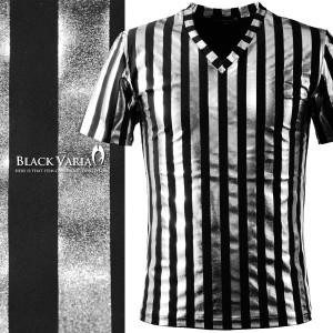 Tシャツ ロンドンストライプ シルバー箔 光沢 Vネック メンズ 日本製 細身 ストライプ 半袖Tシャツ(太シルバー銀ブラック黒) 163919