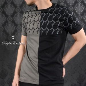 Tシャツ センター切替 ダイヤ柄 クレイジーパターン メンズ 半袖Tシャツ(グレー灰ブラック黒) 75115