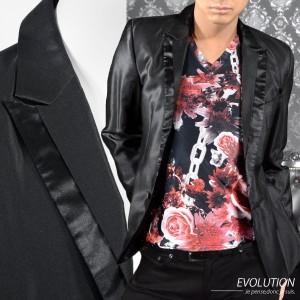 テーラードジャケット 無地 1釦 細身 ピークドラペル シンプル アクセサリー付 長袖 衣装 メンズ (ブラック黒) 7702