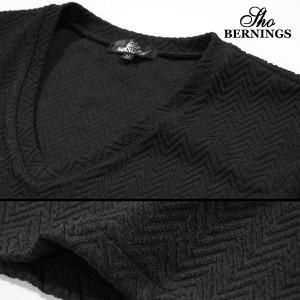 Tシャツ Vネック ヘリンボーン柄 メンズ 膨れジャガード 半袖Tシャツ(ブラック黒) 322232
