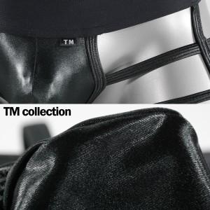 ボクサーパンツ 紐 ローライズ メンズ 格子 シースルー WET素材 光沢 アンダーウェア(ブラック黒) 065190