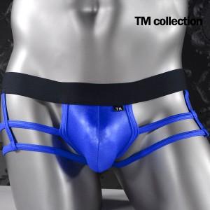 ボクサーパンツ 紐 ローライズ メンズ 格子 シースルー WET素材 光沢 アンダーウェア(ブルー青) 065190