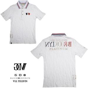 送料無料 GD8 グラディエイト GLADIATE ポロシャツ 半袖 市松模様 幾何学模様 メンズ 2枚衿 刺繍 ジャガード(ホワイト白) 472528