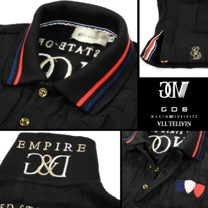 GD8 グラディエイト GLADIATE ポロシャツ 半袖 市松模様 幾何学模様 メンズ 2枚衿 刺繍 ジャガード(ブラック黒) 472528