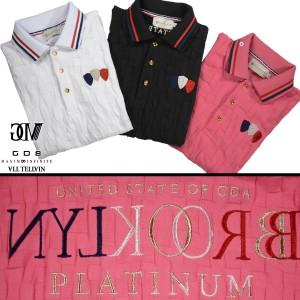 GD8 グラディエイト GLADIATE ポロシャツ 半袖 市松模様 幾何学模様 メンズ 2枚衿 刺繍 ジャガード(ピンク桃) 472528