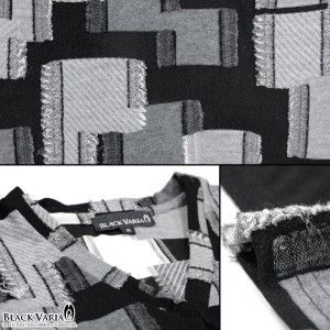 Tシャツ 半袖 パッチワーク Vネック メンズ 日本製 ジャガード タイル 切替 薄手 スリム 半袖Tシャツ(ブラック黒グレー灰) 173320